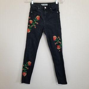 Topshop Moto Jamie Black Cross Stitch Jeans 26